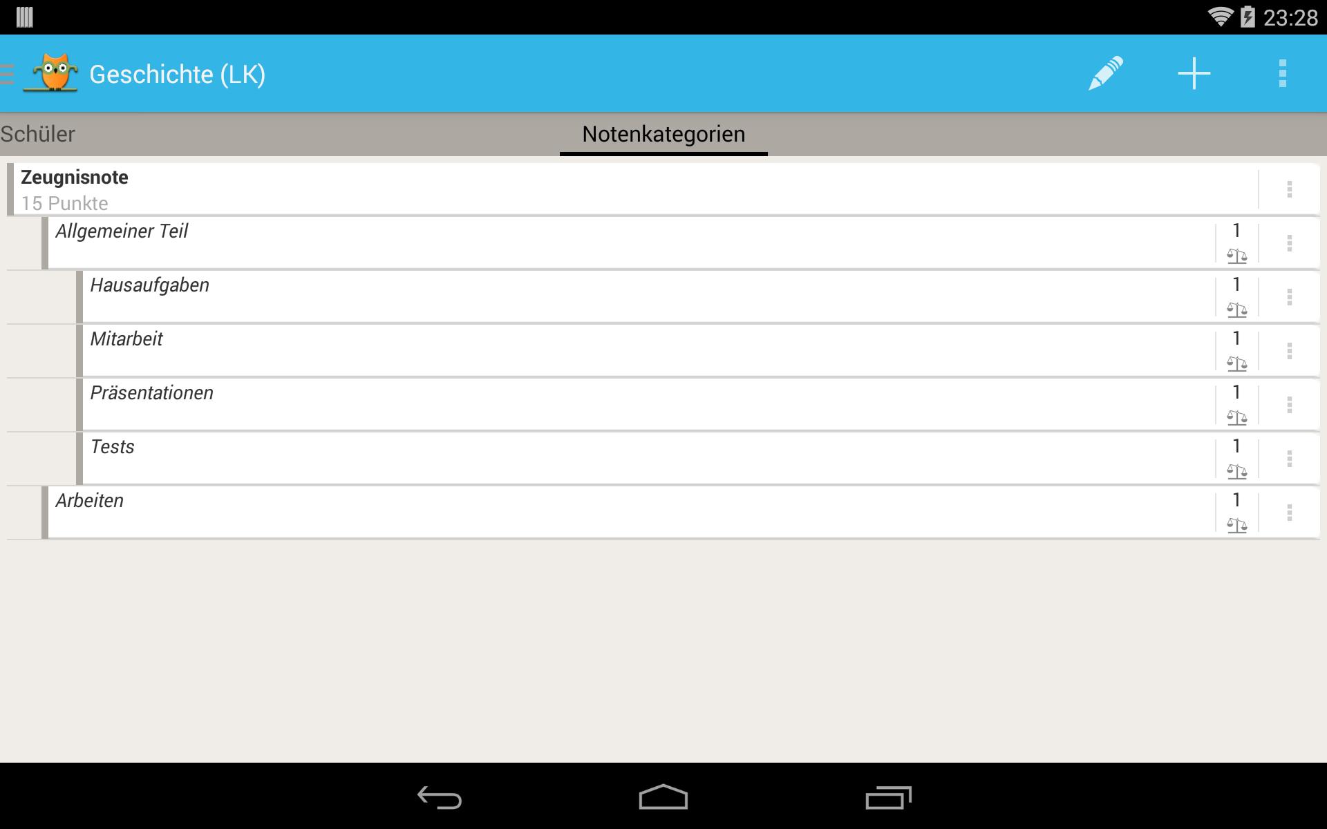TeacherStudio-Handbuch-Android-Tablet-Kurs-Notenkategorien