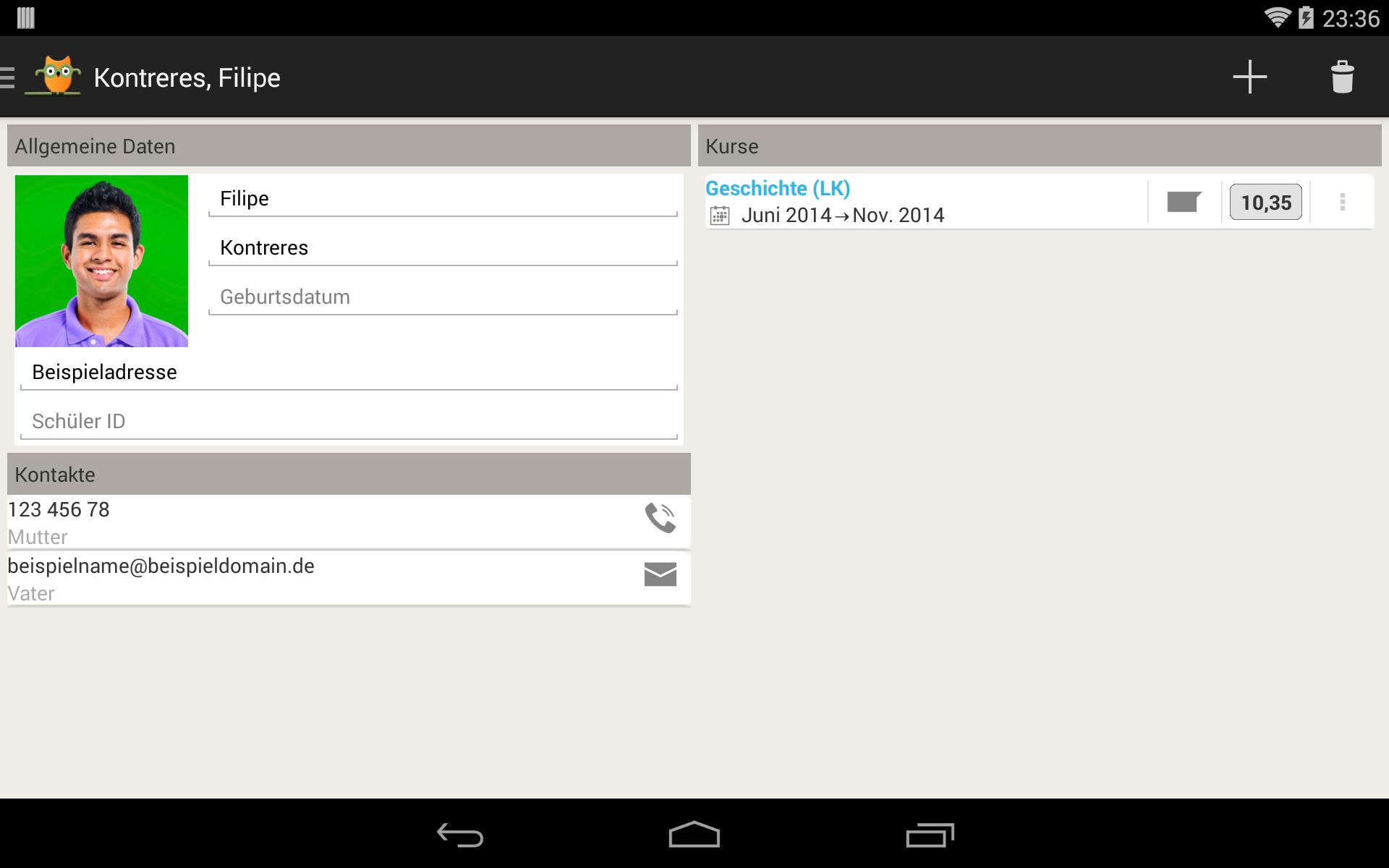 TeacherStudio-Handbuch-Android-Tablet-Schüler-Kontaktinformationen