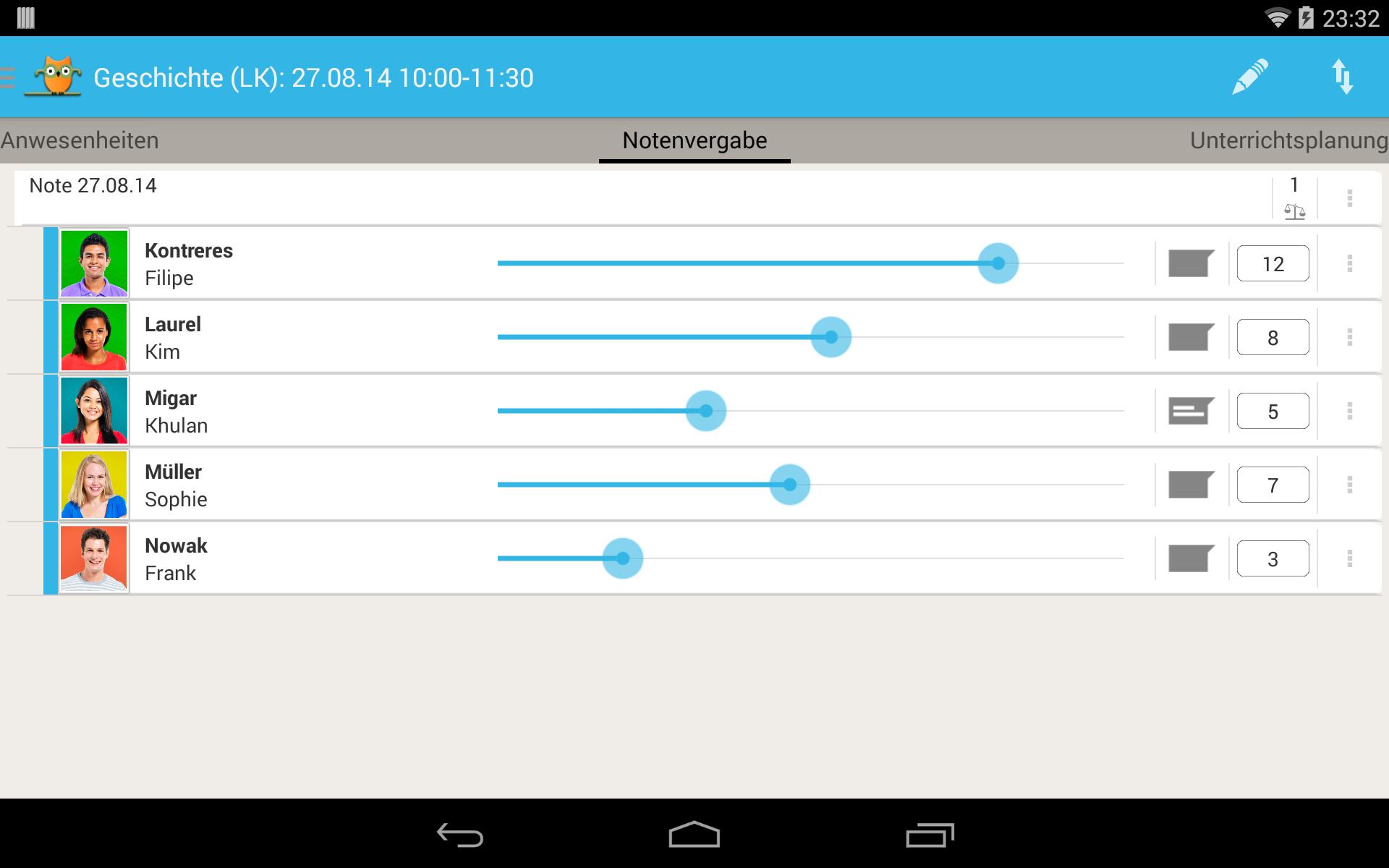TeacherStudio-Handbuch-Android-Tablet-Unterrichtsstunde-Notenvergabe