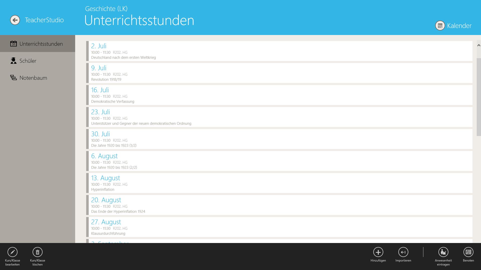 TeacherStudio-Handbuch-Windows-Kurs-Unterrichtsstunden