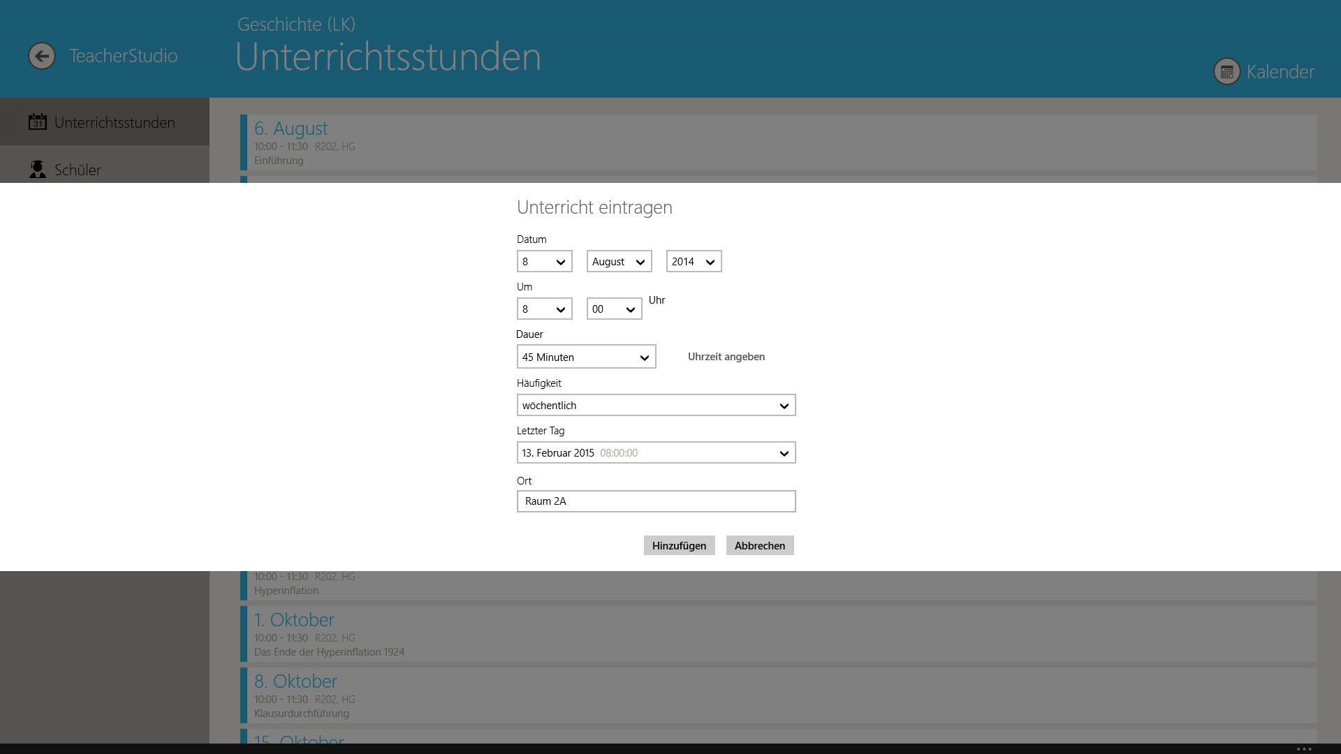 TeacherStudio-Handbuch-Windows-Stundenplan-Unterrichtsstunde-anlegen-Dialog