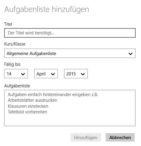 TeacherStudio-Windows-Aufgabenliste-Anlage