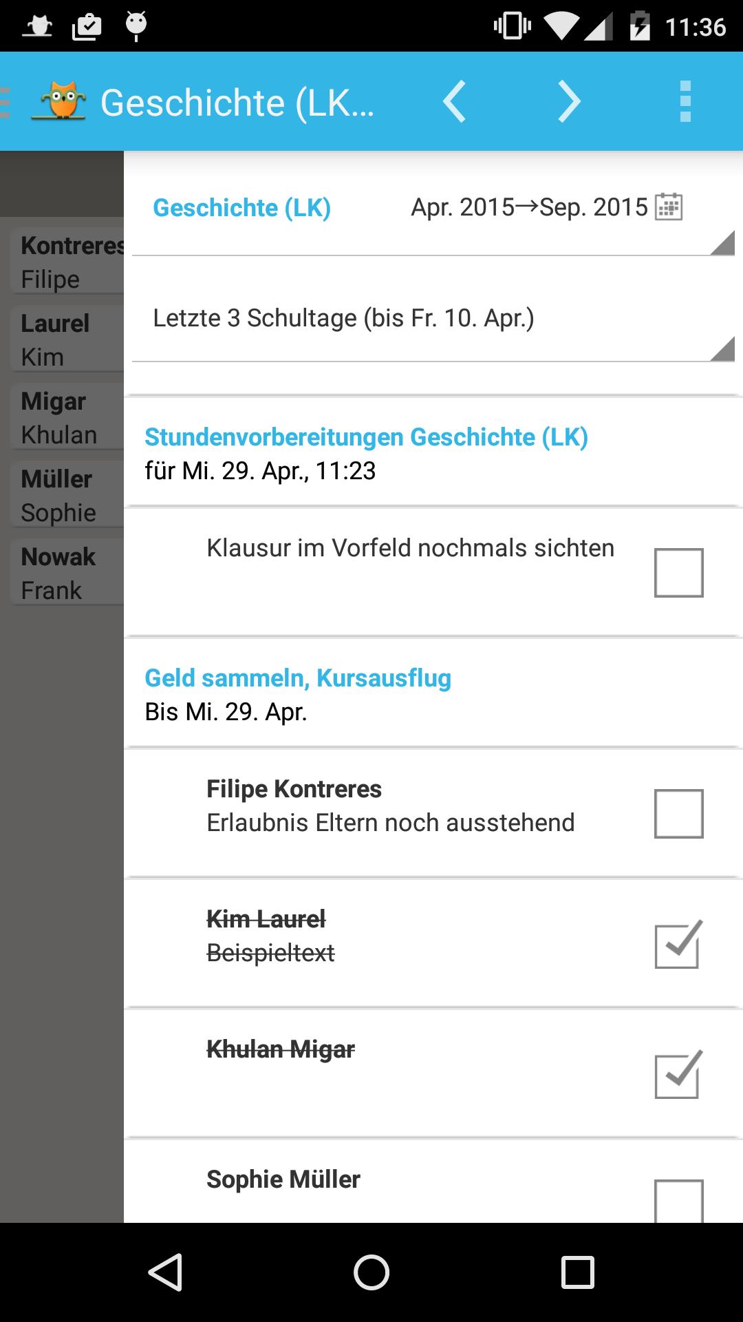 Die Checkliste in der rechten Seitensicht