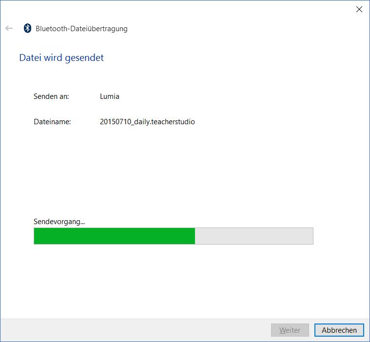 TeacherStudio-Windows-Taskleiste-Bluetooth-Datei-senden-Dialog-Fortschritt