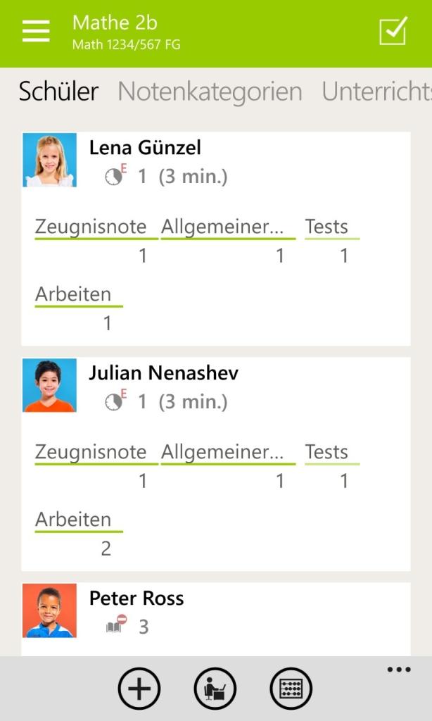 TeacherStudio-Windows-Phone-Schülerübersicht