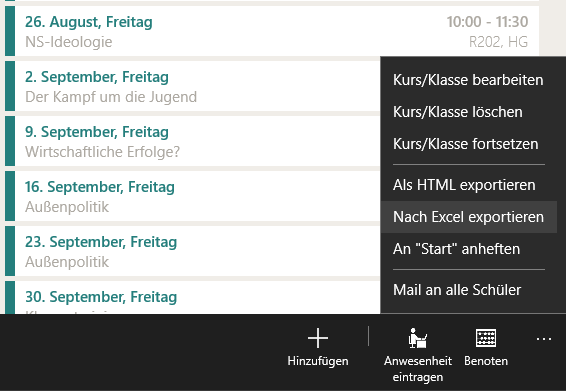 TeacherStudio-Excel-Export-App-Leiste