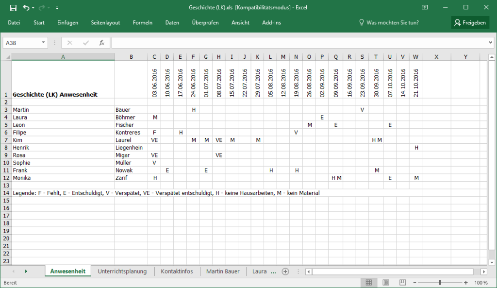 TeacherStudio-Excel-Export-Beispiel
